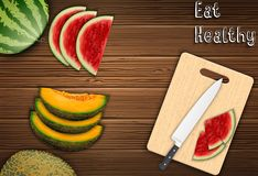 Fresh fruits slices on the table with a knife and watermelon on a cutting board background. Illustration of Fresh fruits slices on the table with a knife and royalty free illustration