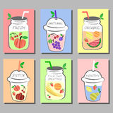 Fresh fruits Smoothie, Detox water colorful cards with different fruits. Stock Photo