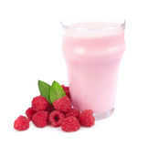 Fresh fruits and smoothies. On white Stock Photography