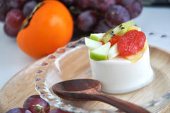 Fresh Fruits and Soy Pudding Royalty Free Stock Image