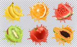 Fresh fruits and splashes, 3d vector icon set Stock Image