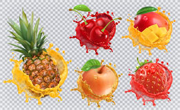 Fresh fruits and splashes, 3d vector icon set. Pineapple, strawberry, apple, cherry and mango juice. Fresh fruits and splashes, 3d vector icon set Royalty Free Stock Photography