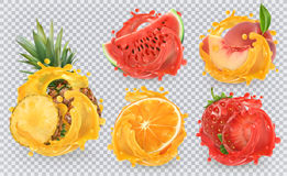 Fresh fruits and splashes, 3d vector icon set. Strawberry, pineapple, orange, watermelon and peach juice. Fresh fruits and splashes, 3d vector icon set Royalty Free Stock Image