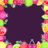 Fresh Fruits in Square Frame. Royalty Free Stock Images