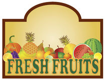 Fresh Fruits Stand Signage Illustration Stock Images