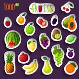 Fresh fruits stickers Stock Photo