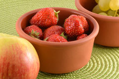 fresh fruits. strawberry, apple, grape Stock Photo