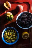Fresh fruits in sunset light Royalty Free Stock Photography