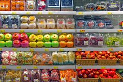Fresh fruits at supermarket royalty free stock photos