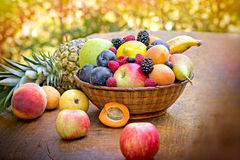 Fresh fruits on table Royalty Free Stock Images