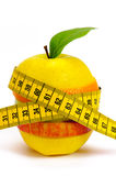 Fresh fruits with tape measure Stock Photography