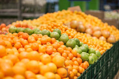 Fresh fruits to sell on the market. Selective focus. Royalty Free Stock Photography