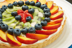 Fresh Fruits on Top of Tasty Cake with Frosting Royalty Free Stock Image