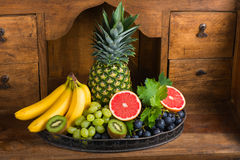 Fresh fruits in the vase Royalty Free Stock Photography