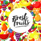 Fresh fruits. Vector background with juicy ripe fruit and berries , round composition, lettering. Flat style. Stock Photography