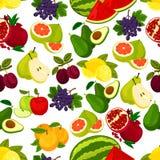 Fresh fruits vector seamless pattern Royalty Free Stock Photo