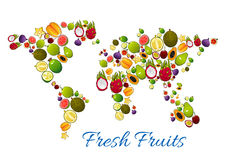 Fresh fruits in vector world map Stock Photography
