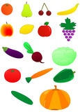 Fresh fruits and vegetables. Vector illustration of various fruits and vegetables Royalty Free Stock Photos