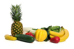 Fresh Fruits and Vegetables. Over white background stock image
