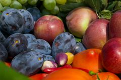 Fresh fruits and vegetables Royalty Free Stock Photography
