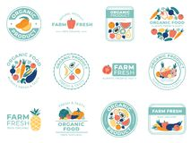 Fresh fruits and vegetables badges. Organic food, natural products and summer fruit. Vegetable badge vector illustration vector illustration