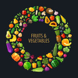 Fresh fruits and vegetables in the circle vector Stock Images
