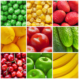 Fresh fruits and vegetables collage