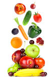 Fresh fruits and vegetables falling Stock Photos