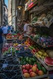 Fresh fruits and vegetables at Farmer's  Market. Fresh fruits and vegetables at a farmer's market in Italy Royalty Free Stock Photography