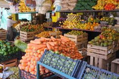 Fresh fruits and vegetables at farmers market Stock Photos