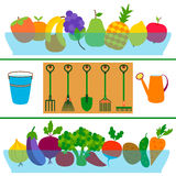 Fresh fruits and vegetables flat garden concept Stock Images