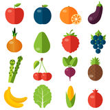 Fresh fruits and vegetables flat icons set. Stock Photos