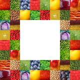 Fresh fruits and vegetables frame. Background Royalty Free Stock Photo