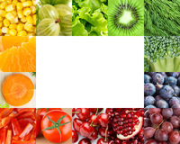 Fresh fruits and vegetables frame Stock Photo