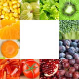 Fresh fruits and vegetables frame Royalty Free Stock Photos