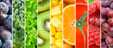 Fresh fruits and vegetables. Healthy food background royalty free stock photos
