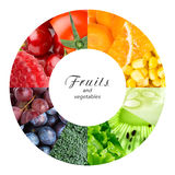 Fresh fruits and vegetables. Healthy food concept stock images