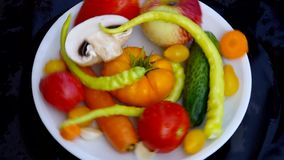 Fresh fruits and vegetables from a home garden. stock footage