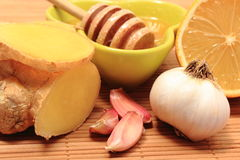 Fresh fruits and vegetables with honey, healthy products Royalty Free Stock Photos