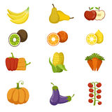 Fresh Fruits And Vegetables Icon Set Stock Photography