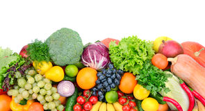 Fresh fruits and vegetables. Isolated on white background stock photography