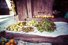 Fresh fruits and vegetables in local market Royalty Free Stock Images