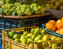 Fresh fruits and vegetables in the local market, Siurana, Catalunya, Spain. Close-up. Fresh fruits and vegetables in the local market, Siurana, Catalunya, Spain Stock Photography