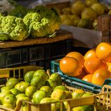 Fresh fruits and vegetables in the local market, Siurana, Catalunya, Spain. Close-up. Fresh fruits and vegetables in the local market, Siurana, Catalunya, Spain Royalty Free Stock Images