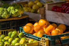 Fresh fruits and vegetables in the local market, Siurana, Catalunya, Spain. Close-up. Fresh fruits and vegetables in the local market, Siurana, Catalunya, Spain Stock Image