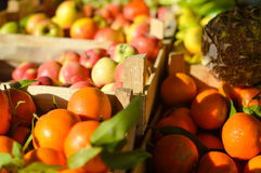 Fresh fruits and vegetables at market in boxes Royalty Free Stock Images