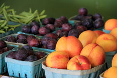Fresh fruits and vegetables at market Stock Photos