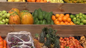 Fresh fruits, vegetables and mushrooms in Spanish market stock video