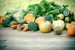 Fresh fruits and vegetables, organic fruits and vegetables on table. Close-up Stock Image