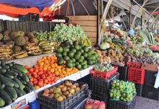 Fruits and vegetables for sale at the outdoor floating market in Willemstad, Curacao. Fresh fruits and vegetables for sale at the outdoor floating market in Royalty Free Stock Images